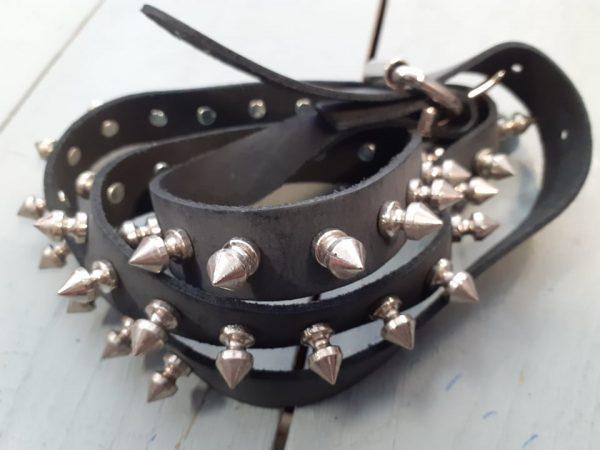 belt leather big spikes
