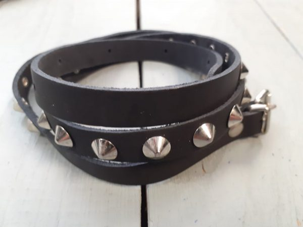 belt round spikes leather