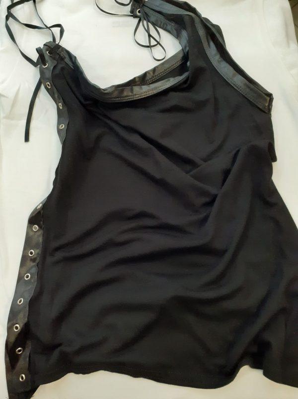 one shoulder top vest black