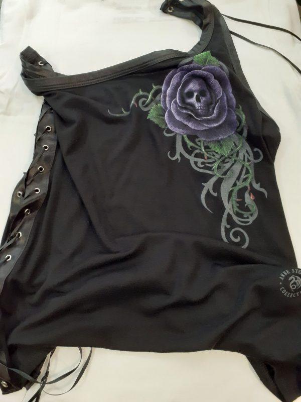 one shoulder top vest skull purple