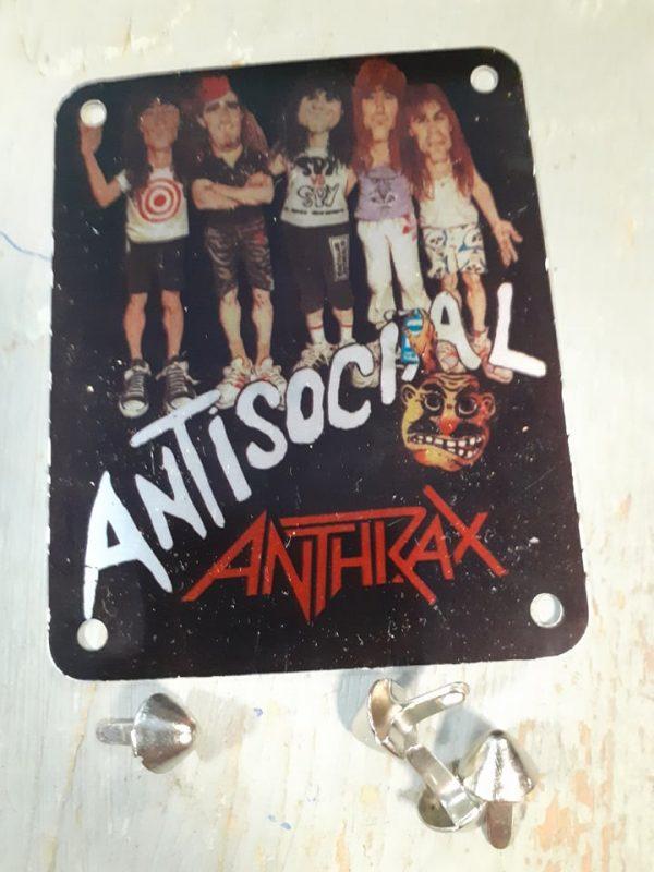 ANTHRAX ANTISOCIAL VINTAGE BRASSART METAL STUDDED PATCH