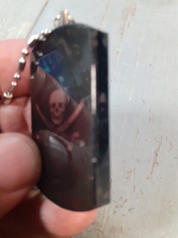skull glass pirate dog tag
