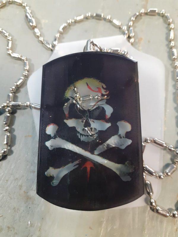 skull glass dog tag