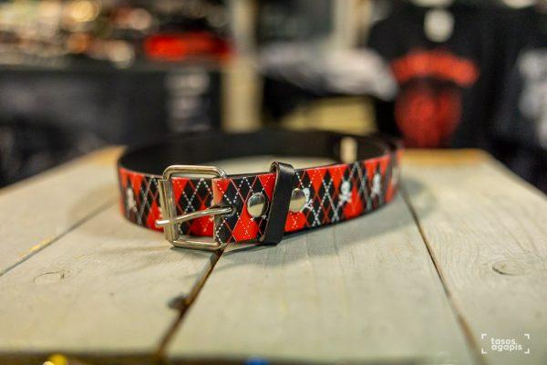 belt leather skull/red/black design size large
